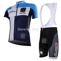 FREE SHIPPING/2013 Blue sportful Short Sleeve Cycling Jersey and BIB Short/Bicycle/Riding/Cycling Wear/Clothing/Gel Padding