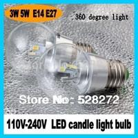100pcs/lot 3W5W lamps E14/E27 LED Candle Light Bulb lamp 360degree light 110-240V SMD5630 Warm White/Cool White CE&ROHS