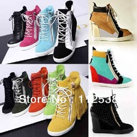free shipping new 2013 gz sneakers women height increasing shoes fashion wedges casual shoes sneakers for women rivet zipper