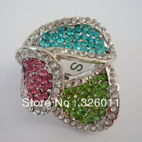High Quality Hot Selling Free Shipping 2013New style Synthetic diamond Alloy Ring Platinum Plating Colourful  ring