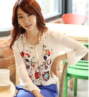 2014 NEW European style patchwork summer printed chiffon long sleeve ladies blouse women's shirt for office lady