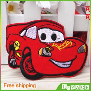 Red cartoon car K050 iron on motif applique patches Cartoon embroidered patches Kids embroidery patches Garment accessory(China (Mainland))
