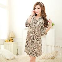 FREE SHIPPING 2013 summer hot-selling sexy leopard print satin chiffon nightgown shirt sleepwear lounge female