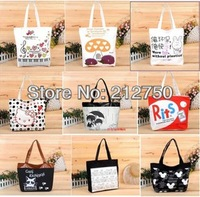 Multi-designs printing hotsale fashion big canvas bag shopping bag women's tote bag handbags shoulder bag