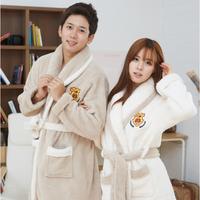 FREE SHIPPING 2013 lovers sleepwear winter male women's thickening coral fleece robe long-sleeve casual lounge robe