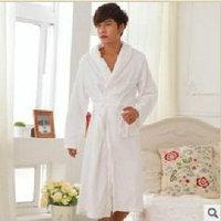 Flannel robe male sleepwear spring and autumn bathrobes female winter coral fleece lovers sleepwear long-sleeve thickening