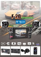 "High quality  Dual lens car camcoder F20+H.264+HDMI+2.7"" Screen+LED night vision+SOS emergency buttion +Free shipping"