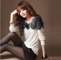 2014 Fashion Sexy Women's Tops Long Sleeve T shirts for woman Ladies Plus Size XXXL lace T-shirts Spring Autumn Tshirts J1129