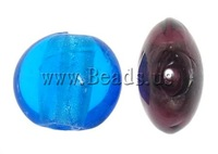 Free shipping!!!Silver Foil Lampwork Beads,luxury, Flat Round, mixed colors, 15x15x8mm, Hole:Approx 2mm, 100PCs/Bag, Sold By Bag