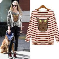 2014 Fashion stripe T-shirts women Long Sleeve Basic shirts woman Owl Design Tshirts Spring Tops  female Tees Roupas J0971