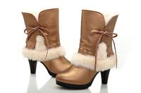 Free shipping women's waterproof  Australia wool snow boots High heel genuine sheepskin winter boot 100% Natural fur warm boot
