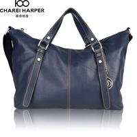Fashion quality genuine cowhide leather zipper one shoulder handbag cross-body women's handbag