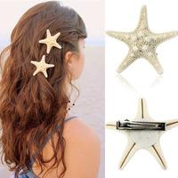 Scolour Europe Fashion Women Lady Girls Pretty Natural Starfish Star Beige Hair Clip Free Shipping&Wholesales