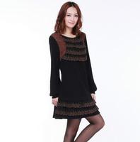 2013 cashmere winter big size big size outerwear big size lace one-piece dress  elegant