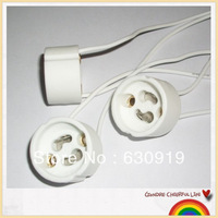 Freeshipping 20pcs/lot GU10 lamp holder socket base adapter Wire Connector Ceramic Socket for LED Halogen Light