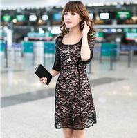 Big size clothing long-sleeve lace one-piece dress  autumn women's big size autumn 2013 one-piece dress