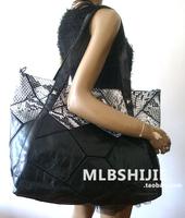 2013 genuine leather large women's one shoulder handbag sheepskin patchwork big snakeskin rivet bag casual messenger bag