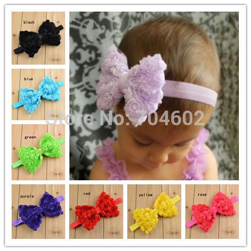 New 2014 Girls Headwear Baby Headbands 12CM Big Chiffon Rose Flower BOWS Kids Hair Band Children Hair Accessories FD235(China (Mainland))