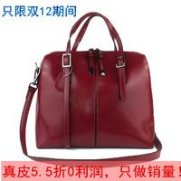 Genuine leather women's handbag oil waxing cowhide leather handbag one shoulder cross-body