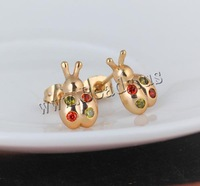 Free shipping!!!Brass Stud Earring,Cheap Jewelry Wholesale, Ladybug, 18K gold plated, with cubic zirconia, nickel