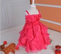 Europe and America New Girls costumes fashion childrens dance party dresses noble princess chiffon dress nice flower girls dress