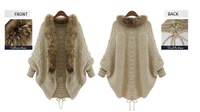 Free shipping ! Wholesale! Winter warm thickening bat sleeve women's cardigan sweater/warm fur collar/lady's coat-09