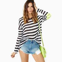 Women black-and-white stripe long-sleeve o-neck loose paillette medium-long patchwork t-shirt basic shirt