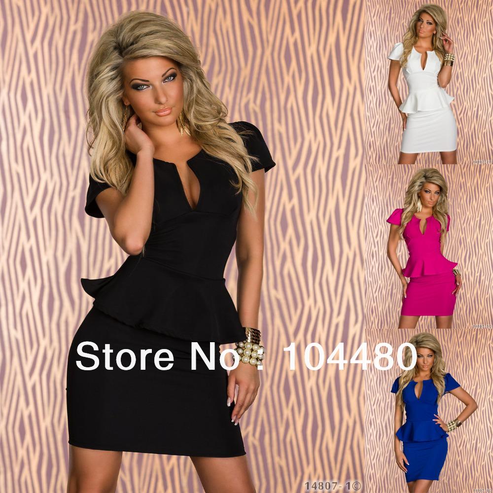 4 Color M L XL Plus Size New European Fashion Women clubwear dress Popular Elegant Bodycon Peplum ruffle Dress Casual Dress(China (Mainland))
