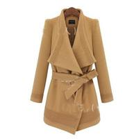 Free shipping ! Wholesale! Fashion large irregular women's woolen cloth coat lapels/warm-11