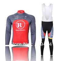 Hot sale!2014 new Radioshack Cycling long sleeve Jersey bike clothing and bib pants/pant spring/autumn GEL PAD A09 Size XS-4XL