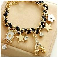 Min. order is $9 Fashion flower love poker bracelet SL188