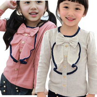 New Style Fashion Kids Girls Autumn Spring Bowknot Long Sleeve Top Shirt  Blouse for Girls Age 2Y-6Y