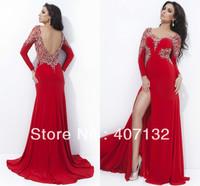 Elegant Chic Sheath V-neck Crystals Red Beads Chiffon Long Sexy Women Fashion New Arrival Evening Dress 2014 Long Sleeve