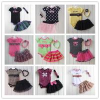2014 New Design infant kids short sleeve cotton rompers +tutu skirt+headdress 3pcs set fashion baby girls leopard clothes suit