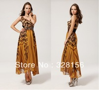 2014 New Arrival Maxi Long Leopard Print V-Neck Bohemian Beach Summer Dress Women Freeshipping S,M,L