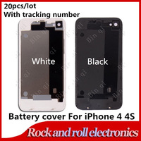 20pcs/lot Mix color White Black Glass Bear housing Shell Back battery door cover Replacement For Apple iPhone 4 4S