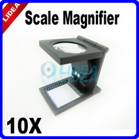 New 2014 Hot Freeshipping 10X LED Illuminated Folding Scale Pocket Magnifying Glass HK F-28
