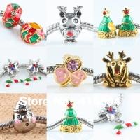 Wholesale Multicolor Enamel Christmas Xmas Gift Big Hole Loose European Charms Beads