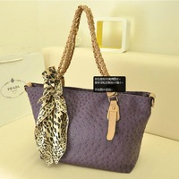 2013 ostrich grain silk scarf handbag women's bags big bag metal mobile chain