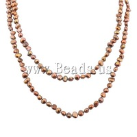 Free shipping!!!Natural Freshwater Pearl Necklace,New, Nuggets, brown, 5-7.5mm, Sold Per 46 Inch Strand