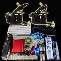 Beginner 2 Gun Kit Tattoo Machine Power Supply Foot Pedal Needles Grip Tip Ink Cups K16