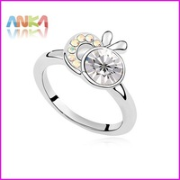 Wholesale Jewellery Pretty 18K Plated Crystal Rings #100330