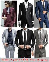 Free Shipping Slim suit set jacket +pant Custom Fit Tuxedo Brand Fashion Bridegroon Men's Business Dress Suits Blazer,XS-3XL