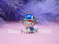 10 pcs Hello Kitty with Blue Fish Pendant Charm Figurine Cute Fashion DIY Accessories ALK706 Wholesale