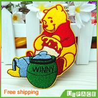 Happy Winnie iron on motif applique patches Kids embroidery patches Cartoon embroidered patch K007 Garment accessory