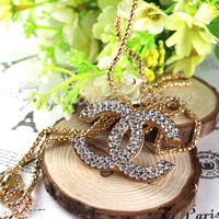 New Korean Fashion Gold Plated Beautiful Rhinestone Pendant Necklace Sweater Chain