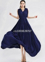 Fashion 2014 women evening dress blue sleeveless v neck dress solid color long silk dress free shipping 422