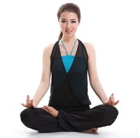 Free shipping 2014 new fashion yoga clothing suite, Halter straps transparent clothing and trousers Fitness Aerobics sportswear