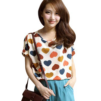 NEW CHIC! LOOSE FIT BATWING SHORT SLEEVE HEART PRINT CHIFFON TOP 3472