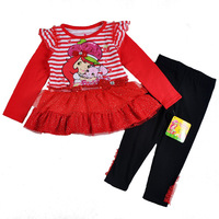 Free shipping hiqh quality 4 sets/lot 2~5T girl's clothing suits, long sleeve strawberry girl lace tunic top + long pant